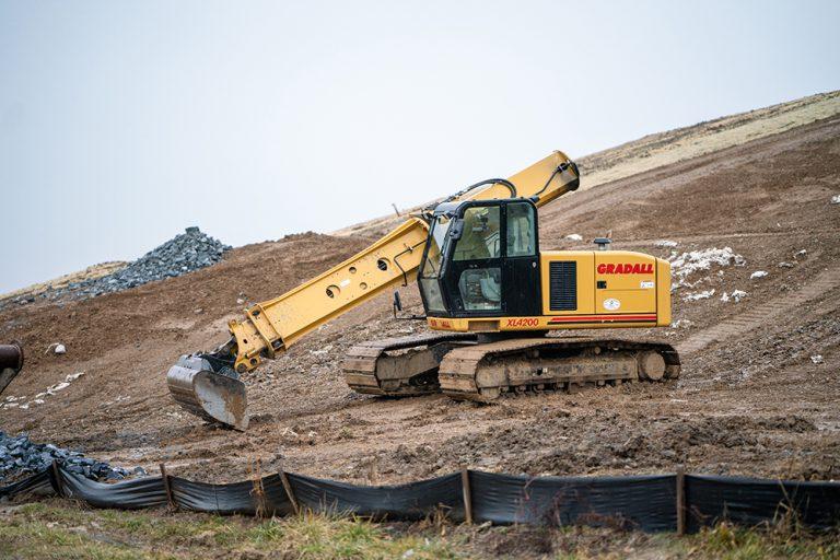 Gradall XL4200 Excavator Parked at a Jobsite