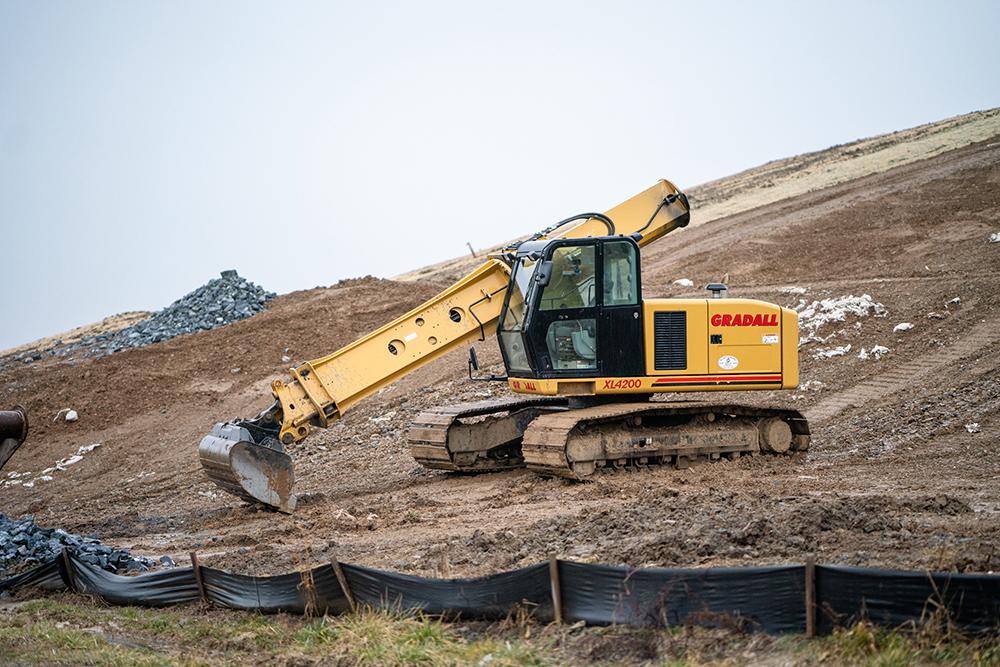 Gradall Excavator at a Landfill Job Site in Pennsylvania