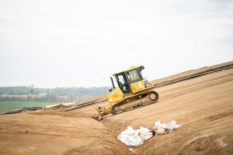 Komatsu Bulldozer at a Landfill Job Site in Pennsylvania